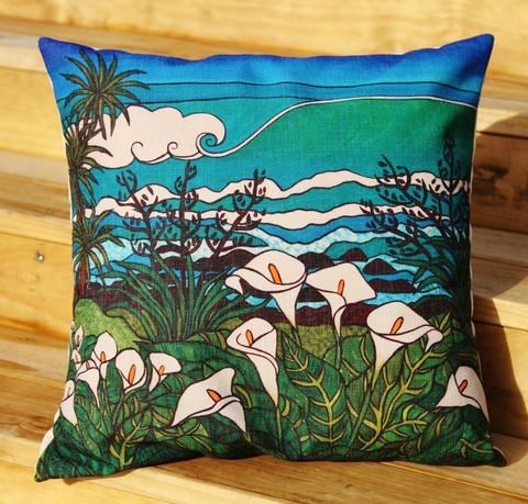 Beyond the lily field cushion artwork by Miranda Jane Caird