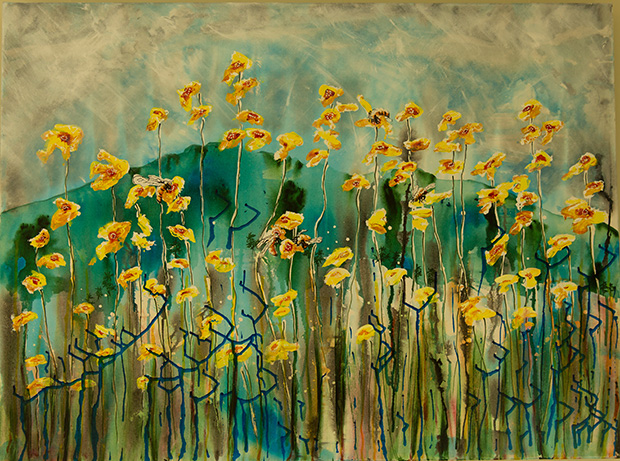 Wildflowers insects including bees need something to eat all year round as we do by Lois Brooks, acrylic